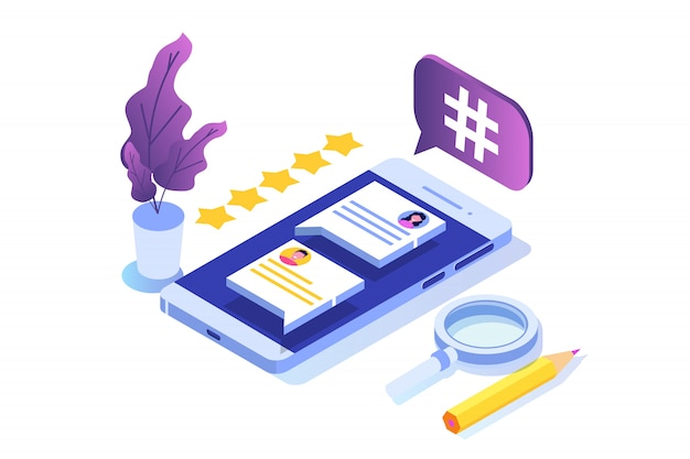 文字とソーシャルメディアの等尺性の概念。ランディングページテンプレート。図