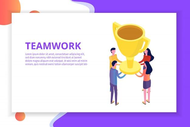 Работа в команде, успех, победа команды концепция изометрии. иллюстрации.