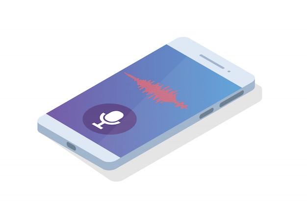 Голосовые сообщения, распознавание голоса изометрической концепции. можно использовать для веб-баннера, шаблона целевой страницы, инфографики.