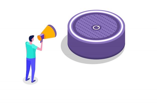 Голосовые сообщения, распознавание голоса изометрической концепции с характером. можно использовать для веб-баннера, шаблона целевой страницы, инфографики.