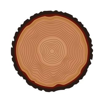 年輪の背景。一年生の木。ベクトルイラスト