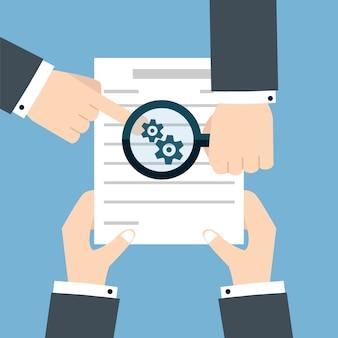 Подготовка бизнес контракта. векторная иллюстрация плоский стиль