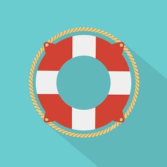 救命浮輪アイコンフラットスタイル。ベクトルイラストフラットスタイル