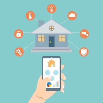 Технология умного дома. концепция векторные иллюстрации