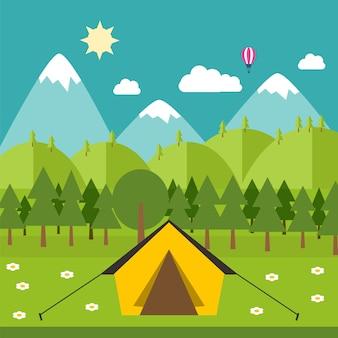 フラットスタイルでイラストを¤¡ベクトル周りの自然とキャンプ。ベクター素材