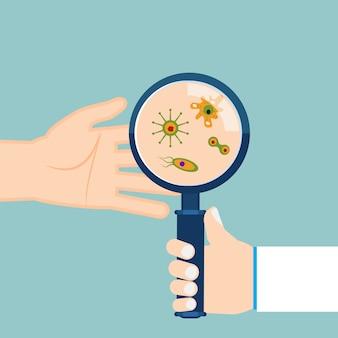 人間の手のひらに拡大鏡と細菌