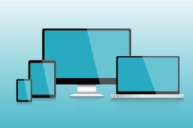 空白の画面を設定したコンピューター