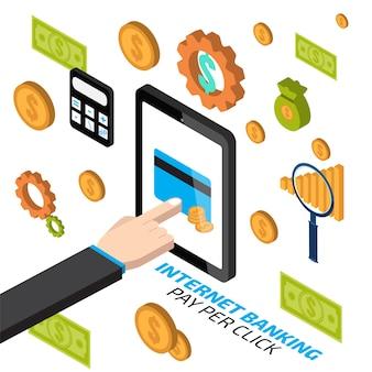 Интернет-банкинг с рукой касаясь планшета. оплата за клик