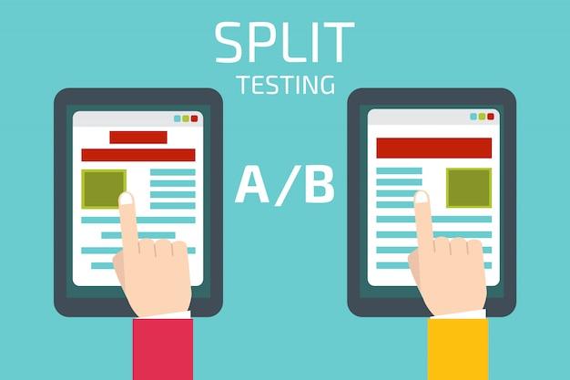 Сплит тестирование концепция с планшетным компьютером