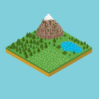 Плоский пейзаж с изображением природы