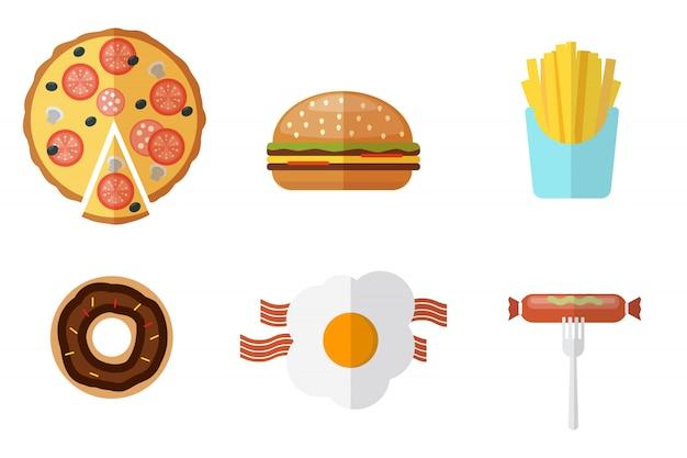 Набор иконок нездоровой пищи. набор логотипов нездоровой пищи