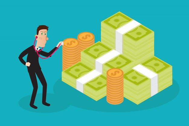 経済統計、ウェブ分析を調べるビジネスマン