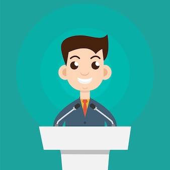 質問に答えるビジネスマンや政治家へのインタビュー