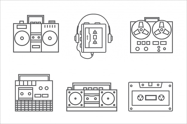 Ретро магнитофон линейный значок коллекции