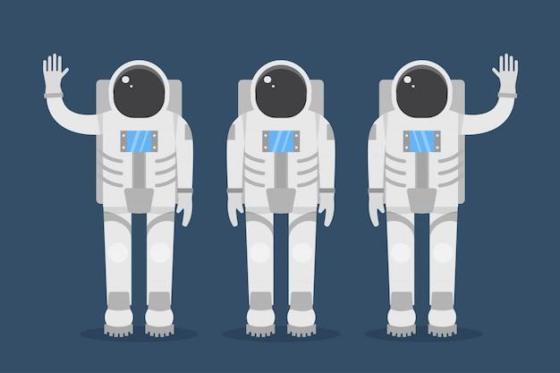 宇宙飛行士チーム。フラットスタイルの図。