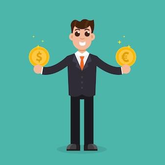 Сравнение валют. бизнесмен держит золотые монеты доллар и евро