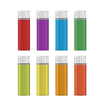 Газовая зажигалка пустой макет набора. иллюстрация