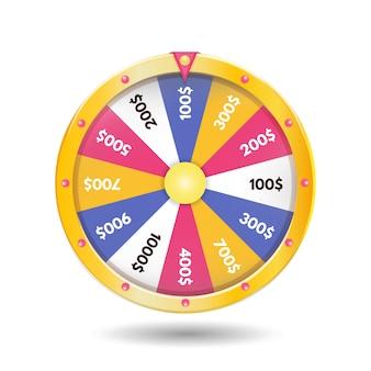 Цветастый реалистический значок колеса удачи. векторная иллюстрация
