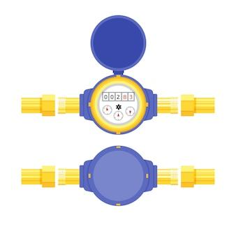 フラットスタイルのアナログ水道メーターベクトルイラスト。衛生設備