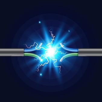 Трехжильный электрический обрыв кабеля с электрической искрой