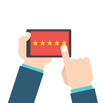 顧客レビューまたはフィードバックの概念。スマートフォンの評価システム。 、フラットスタイル。