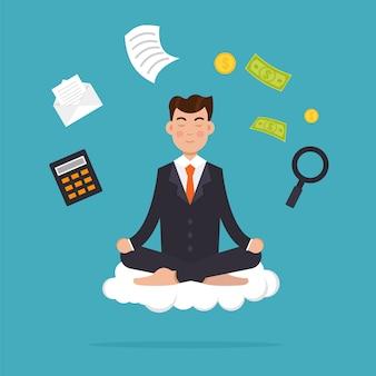 ロータスポーズで座っている瞑想のオフィスワーカー。ビジネスマン瞑想とマルチタスクのコンセプト。図。