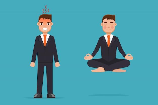 ロータスポーズで座っている瞑想のオフィスワーカー。落ち着いて怒っています。実業家瞑想のコンセプト。図。