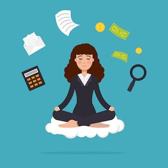 ロータスポーズで座っている瞑想のオフィスワーカー。ビジネスの女性の瞑想とマルチタスクのコンセプト。図。