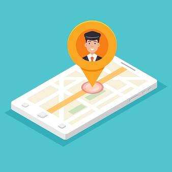 タクシーモバイルアプリ。キャブドライバーピンと等尺性のスマートフォン。