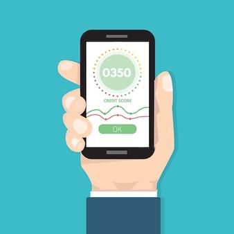 Оценка приложения кредитного балла. иллюстрация в плоском стиле.