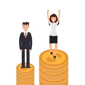 ジェンダーギャップ、ビジネスの違いと差別、男性対女性、不平等コンセプト。
