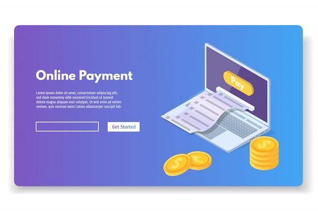 現金領収書とオンライン決済等尺性概念。モバイル財布。ベクトルイラスト