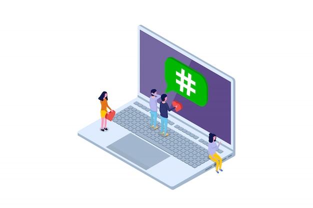 Социальные медиа, сеть изометрические концепции. векторная иллюстрация
