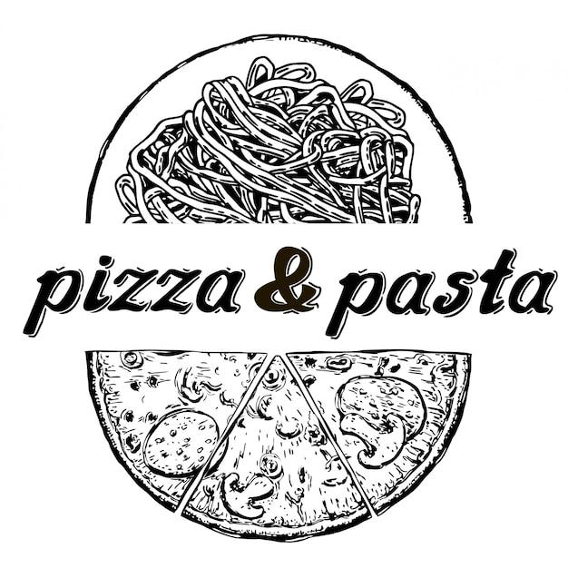 ピザとパスタのメニュー書道と活版印刷の要素。