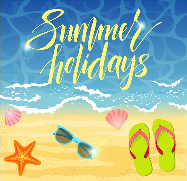 Летний дизайн баннера на пляже с элементами лета.