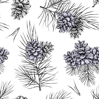 クリスマスツリーの枝、シームレスなパターン背景の松ぼっくり