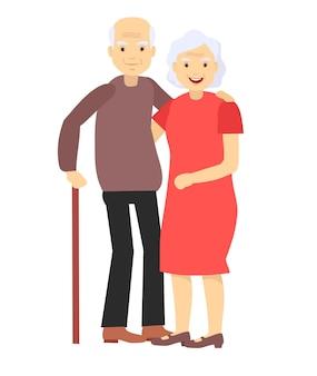 Пожилая пара улыбается. пара старуха и старик ласково обнимаются. чувствую себя счастливым от дедушки и пенсионного возраста.
