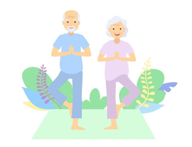 高齢者と体操。老夫婦。祖父母が演習を行います。スポーツ。朝の体操。ヨガの屋外の場所を練習する老夫婦。