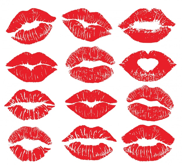 Губная помада поцелуй печати изолированы большой набор. красные губы установлены. различные формы женских сексуальных красных губ. сексуальный макияж губ, поцелуй в рот. женский рот. отпечаток губ поцелуй