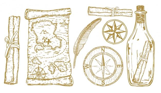 宝の地図のスケッチ。冒険アイテム:コンパス、ボトルに入った宝の地図。旅行と冒険手描きセット