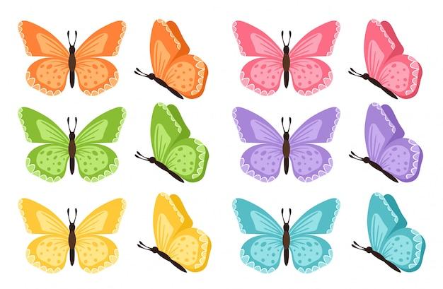 別の蝶のコレクション。図。白い背景で隔離の蝶。色の蝶。子供のための春のパレットを設定したかわいい蝶。