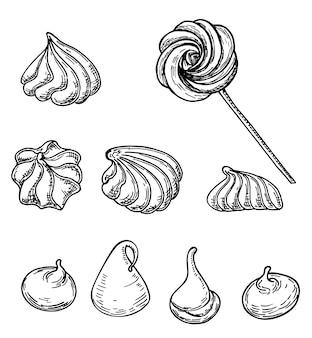 白い背景の上のメレンゲクッキースケッチ。フランスのデザートメレンゲ。フレンチペストリー。フードメニューテンプレート。手描きのスケッチ図。