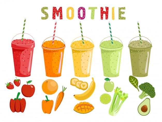 スムージーの果物と野菜。スタイルで漫画のスムージー。オレンジ、ストロベリー、ベリー、バナナ、アボカドのスムージー。オーガニックの果物と野菜が揺れます。図。