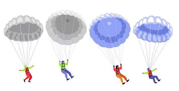 Парашютные парашютисты. прыжки с парашютом персонажей на белом, иллюстрации парашютистов, парашютист хобби и спортивные мероприятия