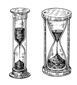 砂時計スケッチセット。砂ガラス、手描きセット。さまざまな形の砂時計。