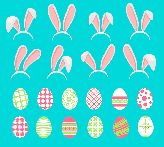 ウサギの耳とイースターエッグは、白い背景に設定します。