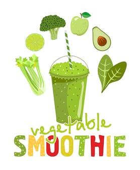 白い背景の上のガラスの健康的な自然食品緑のスムージー。野菜成分のインフォグラフィックモダンなプレミアム品質のイラスト。それが作られているスムージーと野菜。