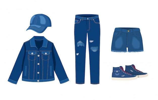 ジーンズの服のコレクション。デニムキャップ、ジャケット、ショーツ、スニーカー。トレンディなファッションのデニムカジュアルな服のイラストをリッピング、白い背景の上のジーンズの服装モデル