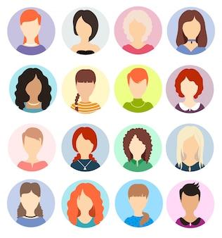 女性の顔の見えないアバター。人間の匿名の肖像画、女性の丸いプロフィールのアバターアイコン、ウェブサイトユーザーの頭の写真。さまざまな髪のヘアスタイル。