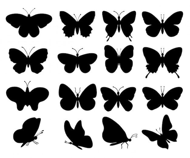 蝶のシルエット。白い背景の春蝶シルエットコレクション。